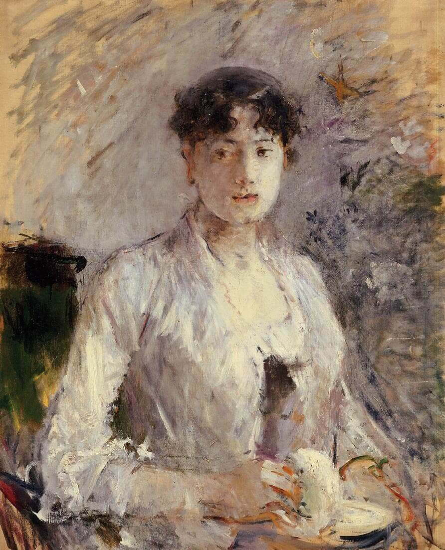 """Jauna moteris Mauve"" sukurta Berthe Morisot"